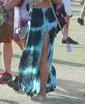 skirt,long skirt,blue skirt,hippie,hippie chic,tie dye