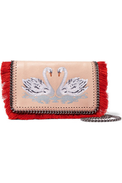 Stella McCartney - The Falabella Embroidered Faux Brushed-leather Shoulder Bag - Blush