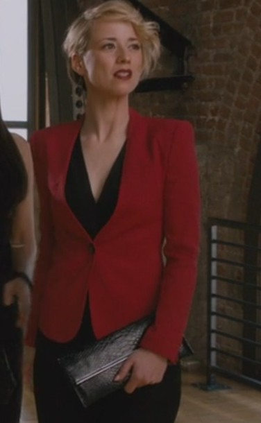 jacket revenge red margaux lemarchal karine vanasse blazer black pants clutch