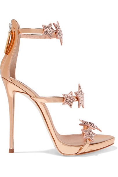 Giuseppe Zanotti metallic embellished sandals leather sandals leather pink shoes
