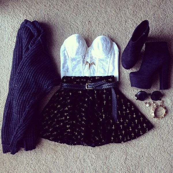 jacket cardigan blue skirt