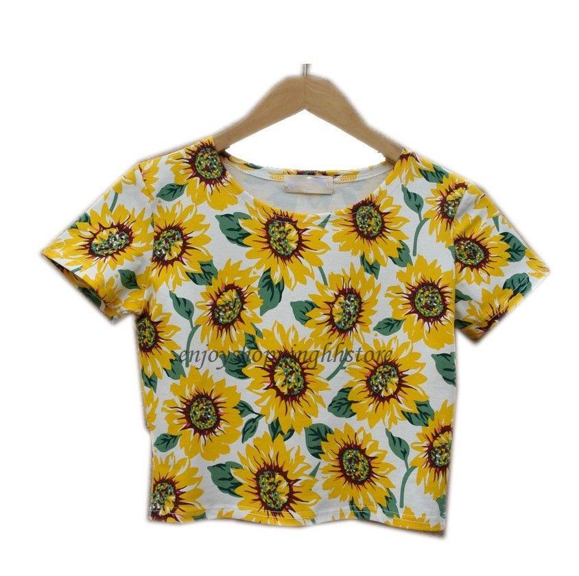 Hot fashion women tops sunflower print t shirt female belly bare midriff crop