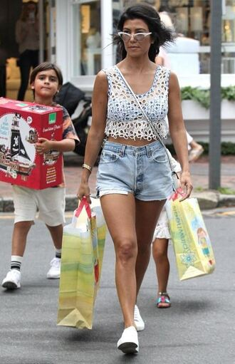 top see through sneakers shorts denim shorts kourtney kardashian summer outfits summer top streetstyle