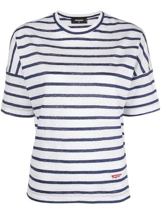 t-shirt shirt striped t-shirt women white top