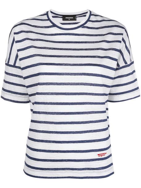 Dsquared2 t-shirt shirt striped t-shirt t-shirt women white top