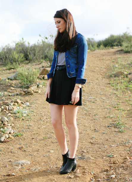 these days blogger black skirt denim jacket jacket t-shirt skirt shoes