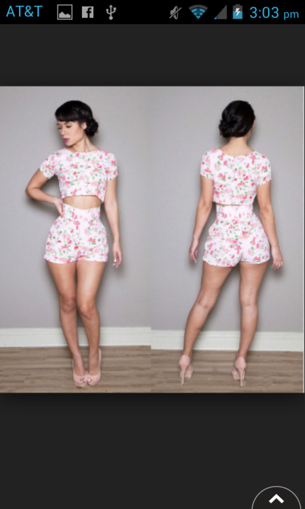 romper flowers short high waist heelspump