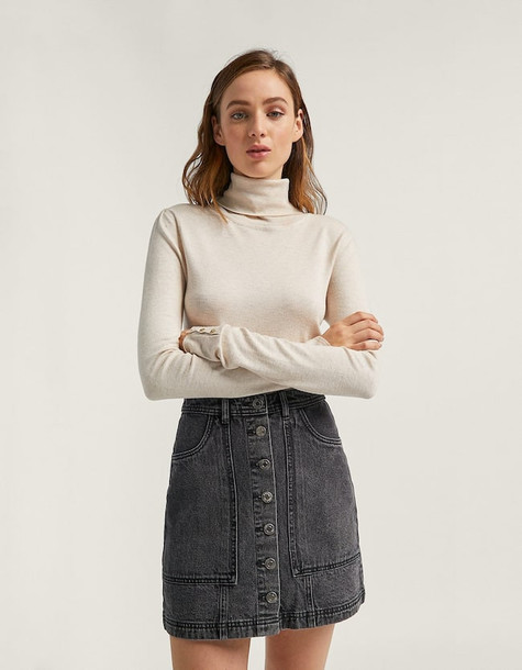 Stradivarius Skirt With Utility Buttons In Mid Grey