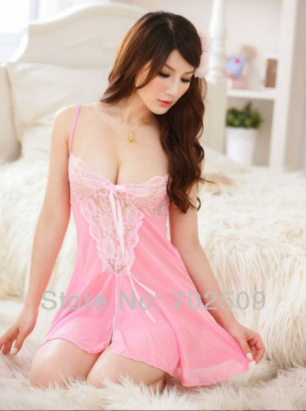 sexy see through pajamas lingerie lace nightgown pink