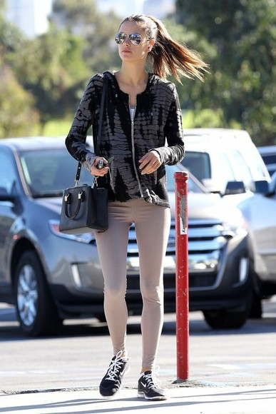 alessandra ambrosio sunglasses sneakers leggings jacket