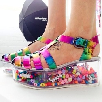shoes rainbow platform shoes sandals kawaii jellies unicorn stars