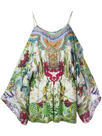 print silk exotic print romper