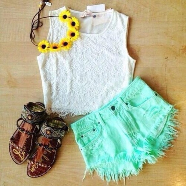 blouse white lace mint shorts flower crown sunflower cute lovely shoes hat sandals sandals shoes beige nude strappy boheme native native style boheme style shirt cropped shirt crop tops tight no sleeves sleeveless High waisted shorts turquoise hair accessory ootd fashion flowers headbands outfit outfit idea hipster tank top