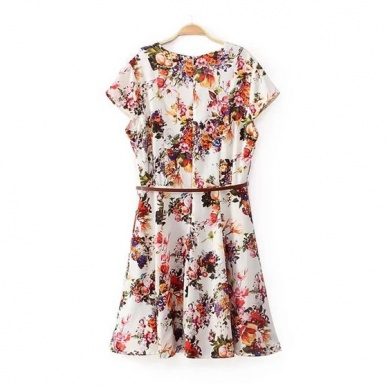 Women apparel fashion V-neck floral printed free belt dresses BD-X5879-Lovelyshoes.net