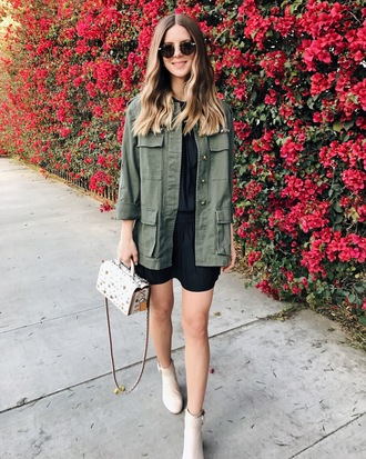 michelle madsen home - take aim blogger dress jacket shoes bag army green jacket spring outfits ankle boots handbag