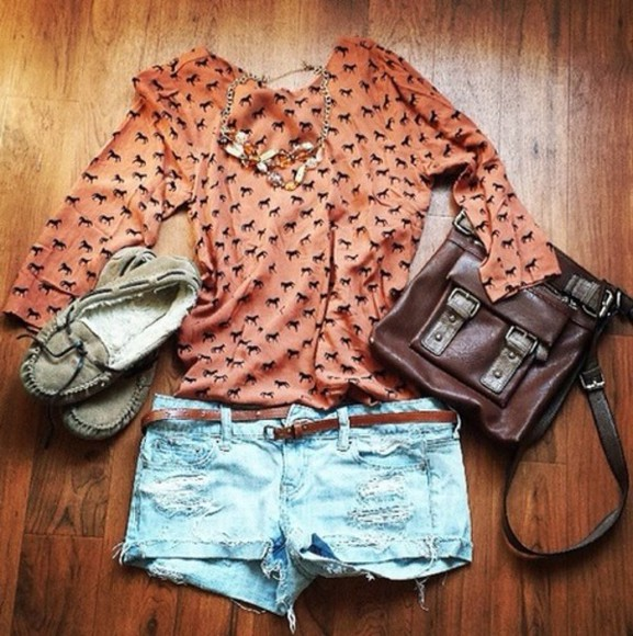 bag blouse orange blouse necklace horses blouses shorts flats Belt spring summer 2014