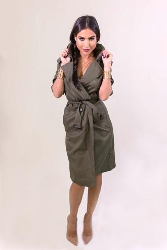 coat trench coat green fashion style long sleeves trendy free vibrationz