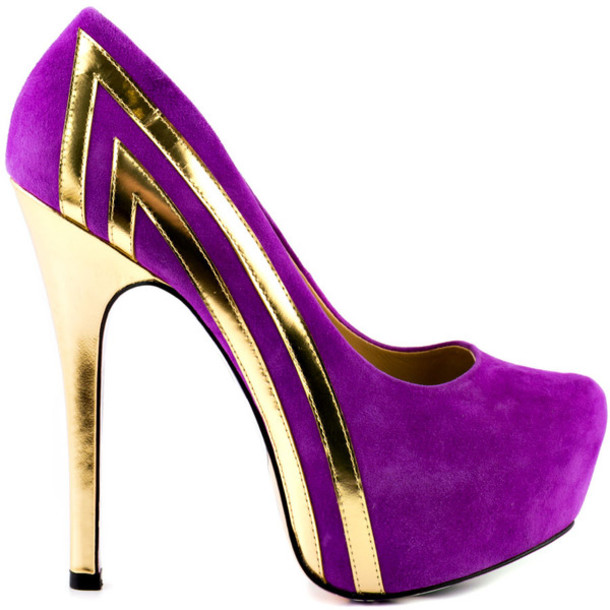 Shoes: purple and gold pumps - Wheretoget
