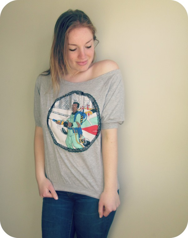 shirt 80s style off the shoulder top t-shirt vintage 90s style ghost busters