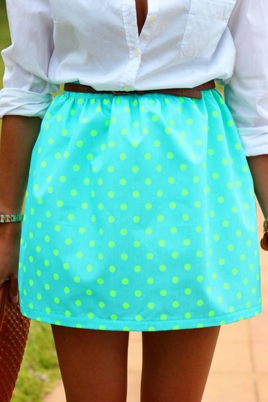 white blouse skirt polka dots neon blue neon green leather belt button up blouse button up short skirt neon skirt cute find it