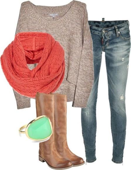 coral jewels mint boots skinnyjeans sweater tan