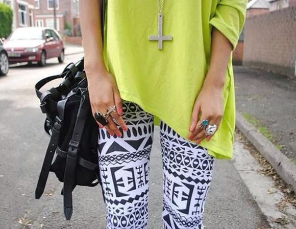 cute tribal bag lime pants