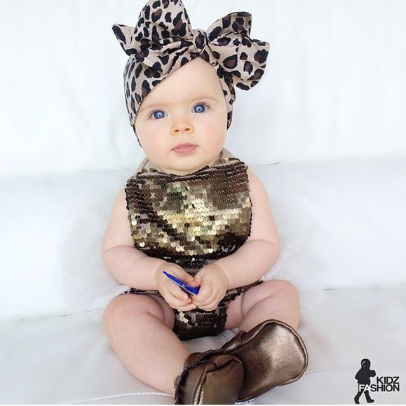 fashion cute hair accessories girl girly pretty baby clothing gold gold sequins leopard print sequins moccasins Kids moccasins head wrap kids fashion