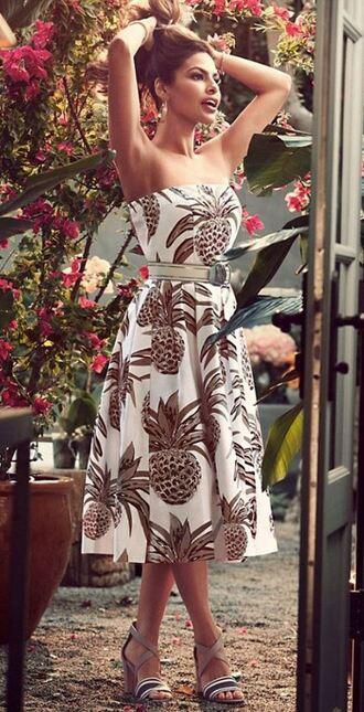 dress summer summer outfits summer dress eva mendes strapless midi dress printed dress