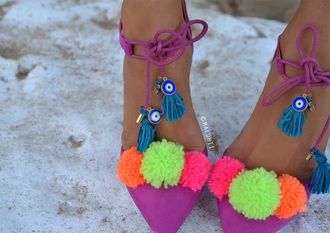 shoes pom pom heels evil eye customised maluhii maluhii shoes