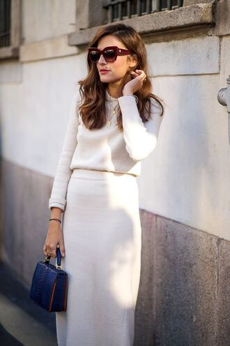 skirt knitted skirt white skirt midi skirt sweater white sweater matching set long sleeves bag handbag blue bag sunglasses cat eye streetstyle work outfits office outfits