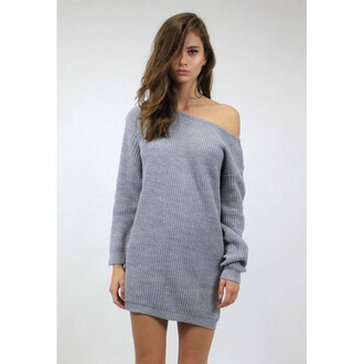 sweater fashion style casual warm cozy off the shoulder long sleeves knitwear boyfriend knit dress cute girly comfy