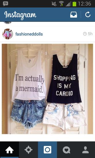 t-shirt mermaid shopping black and white tank tops