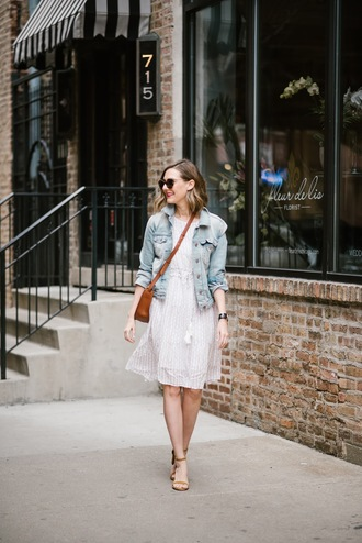 see anna jane blogger dress jeans jacket shoes sunglasses bag sandals white dress denim jacket crossbody bag spring outfits