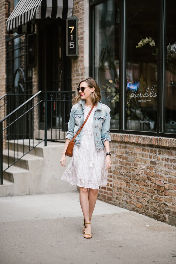 see anna jane blogger dress jeans jacket shoes sunglasses bag sandals white dress denim jacket crossbody bag spring outfits