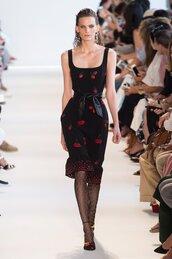 dress,cherry,midi dress,altuzarra,runway,model,NY Fashion Week 2016