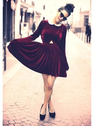 dress velvet velvet dress burgundy burgundy dress preppy peter pan collar dress