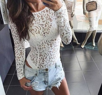 shirt lace top bodysuit style fashion