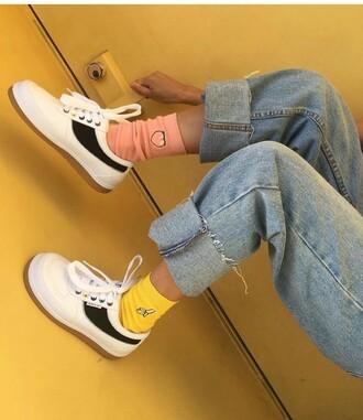 socks banana print yellow peach pink