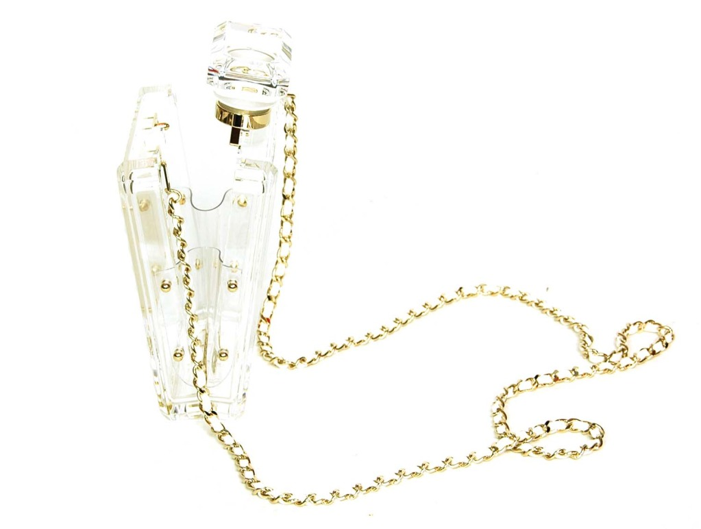 CHANEL Clear Plexiglass 'No. 5' Perfume Bottle Clutch W. Chain Strap c. 2014 at 1stdibs