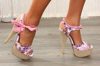 shoes floral tie pink purple heels lace rose pretty cute flowers bow shoes style pink and purple floral high heels floral open toe high heel