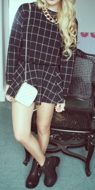 coordinates checked skirt sweater matching set black and white checkered