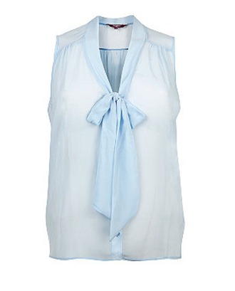 blouse light blue sleeveless bows clothes