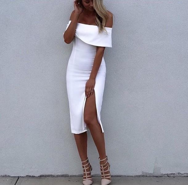 b9ee5b687dc1 dress white white dress bodycon bodycon dress slit dress midi midi dress off  the shoulder off