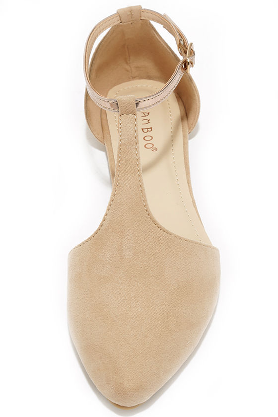 Suede Show Nude Pointed T-Strap Flats