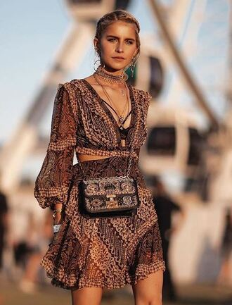 dress caroline daur blogger coachella festival music festival purse necklace boho dress boho instagram jewels jewelry