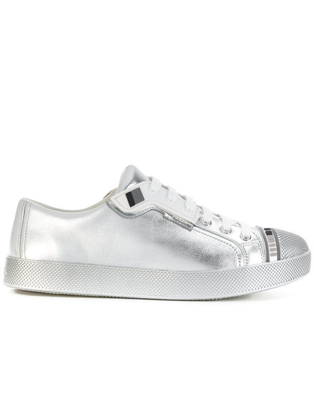 Prada women sneakers leather grey metallic shoes