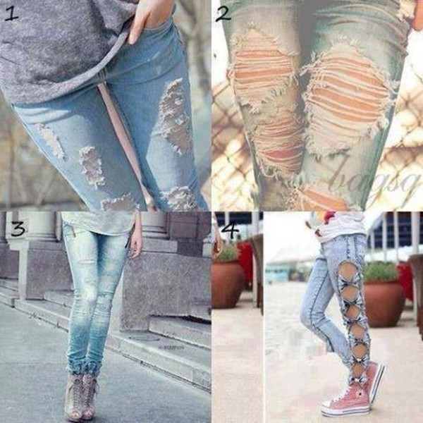 Denim jeans pants women big hole ripped designer jeans women