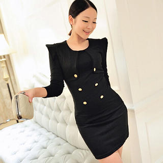 Sharp-Shoulder Double-Buttoned Dress - Jack Grace | YESSTYLE