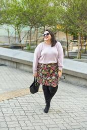 somethinggoldsomethingblue,blogger,sweater,skirt,shoes,jewels,bag,fall outfits,over the knee,plus size,floral skirt