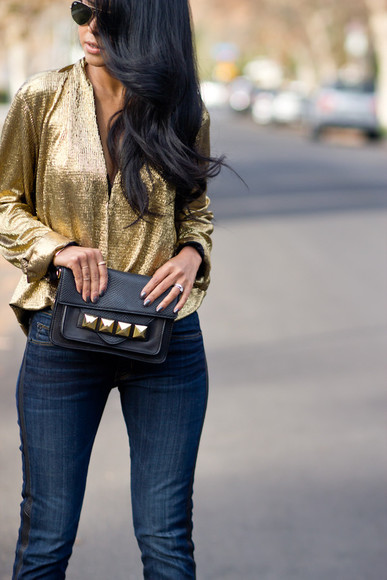 long sleeve shirt gold draped top